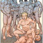 Fiesta orgía en la sauna jóvenes y maduros follando